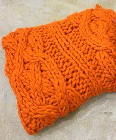 Orange Chunky Knit Throw | House & Home