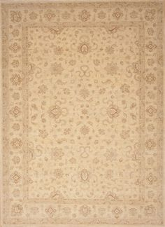 "Pakistani Chobi Wool Yellow Area Rug (7'11"" x 11'3"") - 103 - 12241"