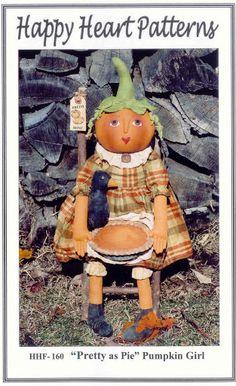 Free Doll Pattern - Pretty as Pie Pumpkin Girl Heart Patterns, Doll Patterns, Primitive Patterns, Primitive Doll, Doll Maker, Happy Heart, Doll Crafts, Elves, Pretty Girls