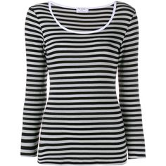 Frame Denim Striped Long Sleeve T-Shirt (200 CAD) ❤ liked on Polyvore featuring tops, t-shirts, shirts, t shirts, white t shirt, white shirt, striped t shirt and long sleeve shirts