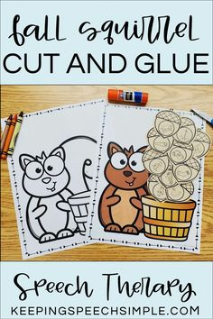 This hands-on speech therapy craft is a fun way to target drill work during your speech therapy sessions this fall. Color, cut and glue activities are a great way to engage students. This speech activity can also be used to target language goals. Use for spatial concepts, following directions and quantity concepts. Great for mixed groups in the speech room! Articulation targets include most sounds in all word positions, plus blends and vocalic R. Great for kindergarten and elementary students!