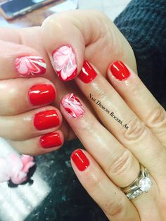 Water marble with big apple red by OPI, shellac