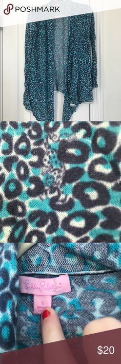 Lilly Pulitzer sweater Lilly Pulitzer open cardigan. Cheetah print Lilly Pulitzer Sweaters Cardigans