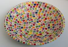 Large Serving Bowl with Rainbow Squares by JMNPOTTERY on Etsy, $100.00
