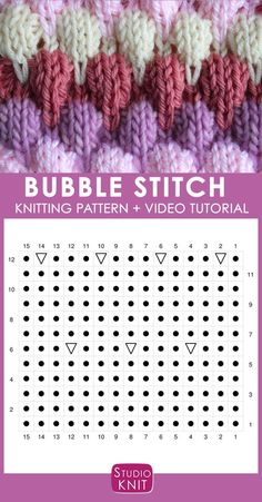 Bubble Knit Stitch Pattern Chart with Video Tutorial by Studio Knit. How to Knit the Bubble Stitch Pattern with free knitting pattern and video tutorial by Studio Knit Knitting Stiches, Knitting Videos, Knitting Charts, Knitting Socks, Knitting Patterns Free, Knit Patterns, Free Knitting, Baby Knitting, Stitch Patterns
