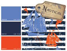 nautical color scheme, nautical color trends, blue and orange color scheme