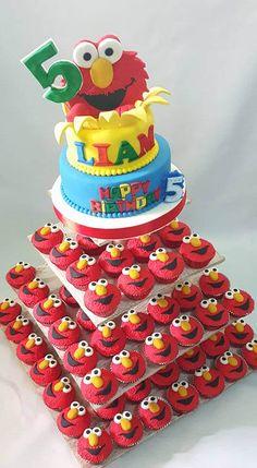 Furry Red Elmo Themed Cake & Cupcakes by Em's Cake Avenue