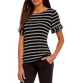 Ivanka Trump Stripe Knit Jersey Ruffle Sleeve Hem Boat Neck Top