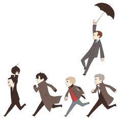 and Mycroft swoops down via umbrella...yes!
