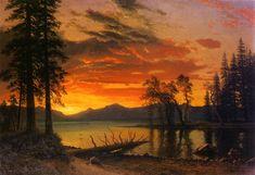 Sunset over the river - Albert Bierstadt