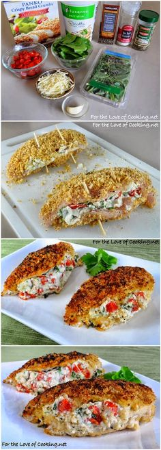 Panko Crusted Chicken Stuffed with Ricotta, Spinach, Tomatoes, and Basil | All sorts of recipes