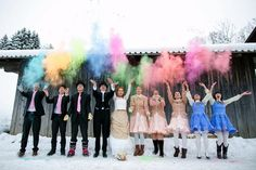 colorful snow explosion Alice in Wonderland wedding