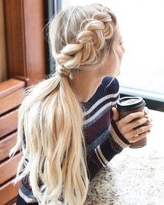 Boho Hairstyles For Long Hair, Cute Ponytail Hairstyles, Easy Updos For Long Hair, Cute Ponytails, Prom Hairstyles, Hairstyle Ideas, Blonde Hairstyles, European Hairstyles, Braided Ponytail