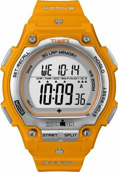 Timex Men's T5K585 Ironman Traditional Shock 30-Lap Orange/Silver-Tone Resin Strap Watch Timex. $55.88. Indiglo® night-light. 100-Hour Chronograph with Lap and Split Times, 99-Lap Counter. Water-resistant to 660 feet (200 M). Designed to Shock-Resistant I.S.O. standards providing ultimate dependability and ruggedness.. 30-lap memory recall for effortless review after workout