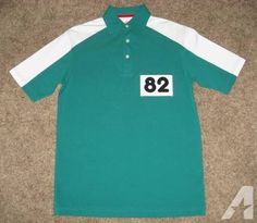 NEASE HIGH SCHOOL Men's LARGE White Green SS Polo Shirt VINTAGE