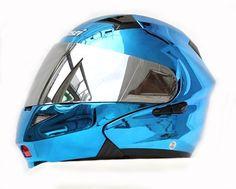 Masei 815 Blue Chrome Modular Flip-Up Motorcycle Arai Helmet FREE Shipping Worldwide