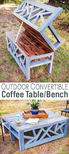 Outdoor Convertible Coffee Table Bench DIY Woodworking Plans #woodworkingbench #kidswoodworkingprojects #WoodBenchDIY