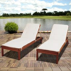 Amazonia Amazonia Andorra 2 Piece Eucalyptus Wheel Lounger Set with White Cushions - Outdoor Living - Patio Furniture - Chaise Lounge Chairs