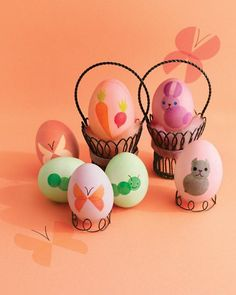 Adorn your eggs with playful creatures and fresh veggies by making stencils using a craft punch and adhesive vinyl.