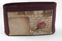Postcard Rosa Purse #purse, #stationery #handmadeinItaly, #italianproducts, #jute, #rose, #romantic, #lettersoflove