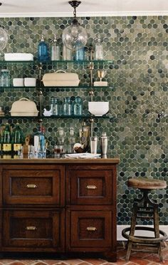 Hex tile on the walls - so cool!