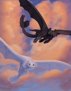 Toothless and The Light Fury by on DeviantArt Httyd Dragons, Cool Dragons, Dreamworks Dragons, Httyd 3, Croque Mou, Toothless Dragon, Pinturas Disney, How To Train Dragon, Dragon Rider
