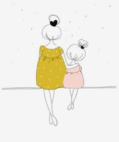 Illustration Enfant Love mom and girl Illustration Mignonne, Cute Illustration, Family Illustration, Love Mom, Painting & Drawing, Mom Drawing, Drawing Ideas, Drawing Faces, Drawing Tips