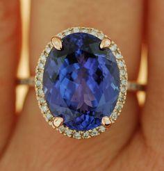 Tanzanite Ring. Rose Gold Ring. GIA certified Violet Blue