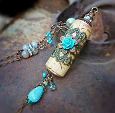 Turquoise Vineyard estate wine cork necklace, assemblage turquoise long necklace…
