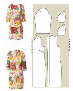 Kleid mit Blumenmuster Schnittzeichnung