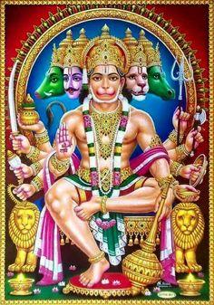 Lord Panchamukha Hanuman ensures safety and security to all devotees Hanuman Jayanthi, Hanuman Photos, Hanuman Images, Lord Krishna Images, Shiva Photos, Lord Murugan Wallpapers, Lord Shiva Family, Lord Mahadev, Shiva Shakti