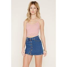 Forever21 Lace-Trimmed Cropped Cami (£4.92) ❤ liked on Polyvore featuring intimates, camis, pink, lace trim camisole, v-neck camisoles, lace trim cami, pink camisole and pink cami