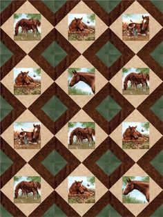 This stunning realistic horse quilt kit for country western outdoors quilt fussy cut horses colts. Fabrics by Spectrix, Fabric Traditions, Red Rooster Fabrics.