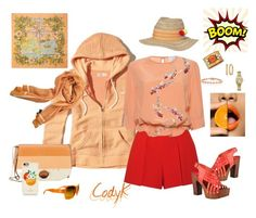 """""""Pale Orange & Coral"""" by cody-k ❤ liked on Polyvore featuring Hollister Co., Alice + Olivia, Stella Jean, Halston Heritage, Bling Jewelry, GUESS, Buccellati, Fendi, Chanel and Hermès"""