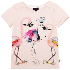 Light pink T-shirt made of soft modal jersey. Round neck and short sleeves. Design print on the chest. - £ 41,00