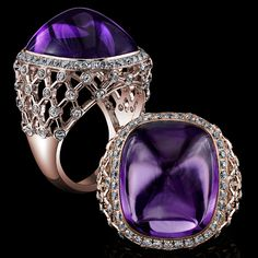 Robert Procop Exceptional Jewels- Accented by a setting of fine French lattice detail, the Amethyst gems are held in a framework of precision cut 18k white or rose gold that crisscrosses in intricate channels of sparkle and Diamond. From the Old French word lattis, this decoration is often used to describe the surroundings of the famously beautiful French gardens.