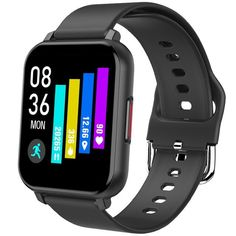 Android Smart Watch - The Full Touch Screen T82 Smart Watch With Fitness Tracker. - T82 Black