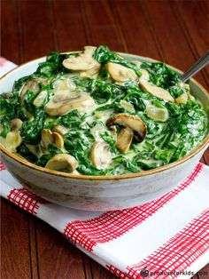 Give the traditional creamed spinach a healthy makeover with this rich and creamy recipe. Spinach is a rich source of folate and iron, and onions are an excellent source of vitamin C. Tasty and healthy! Get more fresh takes on holiday favorites with our free e-cookbook.