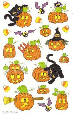 Sandylion Vintage Glittery Halloween Pumpkins Black Cats Stickers 1 Maxi Sheet | eBay