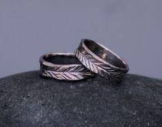 Custom Leaf Wedding Bands in 14k Palladium White Gold  emmagloverdesign.com