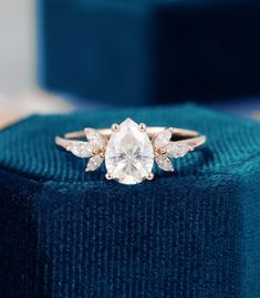 Pear Shaped Moissanite Engagement Ring Vintage Unique Marquise   Etsy