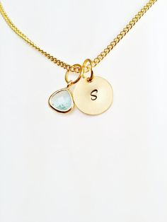 Gold Initial Necklace on a Disc with a Ice Blue Faceted Stone- Personalised Jewellery - Gold Plated Jewellery - Bridesmaids Jewelry #customchic #etsyretwt