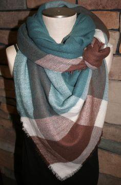 Plaid Tartan Blanket Scarf Teal and Brown by SewPriorAttireMitten