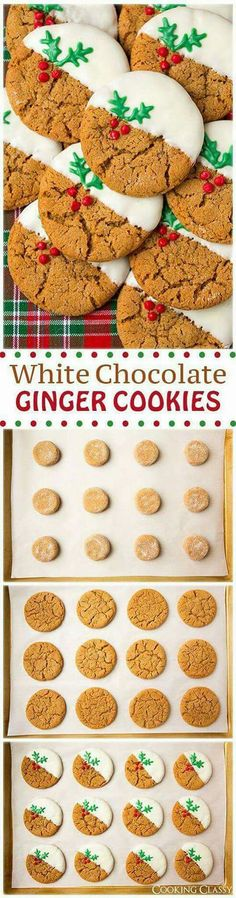My Hack - Start with store bought ginger cookies. White Chocolate Dipped Ginger Cookies (soft and chewy) - these cookies are SO GOOD! So much gingery flavor and the white chocolate is the perfect compliment. Christmas Sweets, Christmas Cooking, Holiday Baking, Christmas Desserts, Christmas Cakes, Christmas Ideas, Christmas Time, Christmas Biscuits, Xmas Food