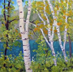 river birch tree painting | Birch Trees at Chapel Pond | Takeyce Walter Studio