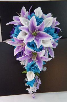 cascade Bridal bouquet -silk flower-wedding flower:Turquoise,Lavender,Purple in Home & Garden | eBay