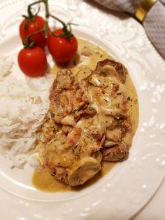 Fläskfilé i dragon- & baconsås Lchf, Bacon, Chicken, Meat, Inspiration, Food, Biblical Inspiration, Essen, Yemek
