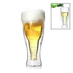 [$3.53] Hopside Down Bottle Durable Double Walled Borosilicate Glass Beer Mug Cup