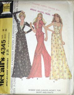 VTG 70's McCalls RETRO Misses Jacket Sun Top Skirt Pants Pattern 4345 s12 UC