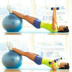 The Ball Bridge Fly is a multitasking move that works your hips, hamstrings, butt, chest, arms, and shoulders all at the same time! #exercise #workout